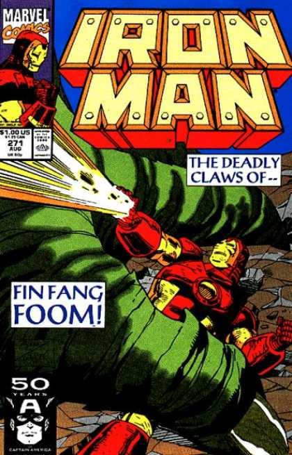 Iron Man 271 - The Deadly Claws Of - Fin Fang Foom - Issue 271 Aug - Gun - Fight - Bob Wiacek, Paul Ryan