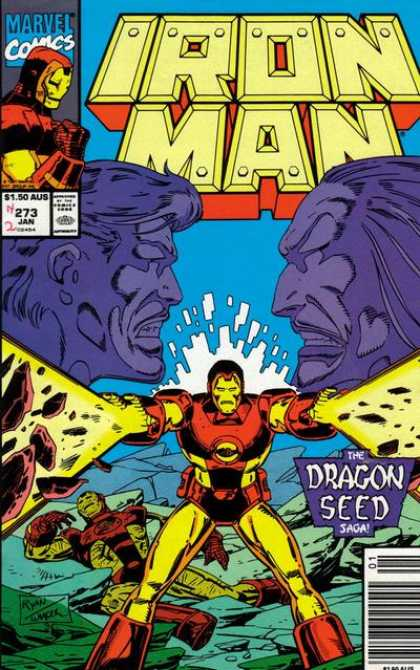 Iron Man 273 - Robot - Metal - Faces - Fire - Blue - Bob Wiacek, Paul Ryan