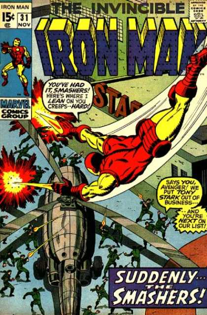 Iron Man 31 - Suddenly The Smashers - The Invincible - Smashed - Marvel - Helicopter - Sal Buscema