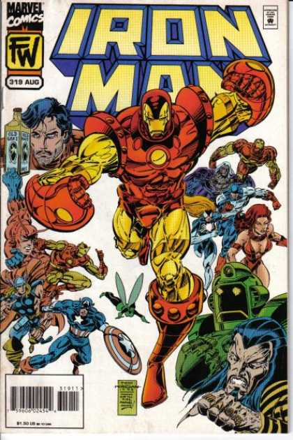 Iron Man 319 - Lots Of Supeer Heros - Iron Man In The Middle - Captain America On The Bottom - Small Green Fairy - Bottle Near Top Of Cover