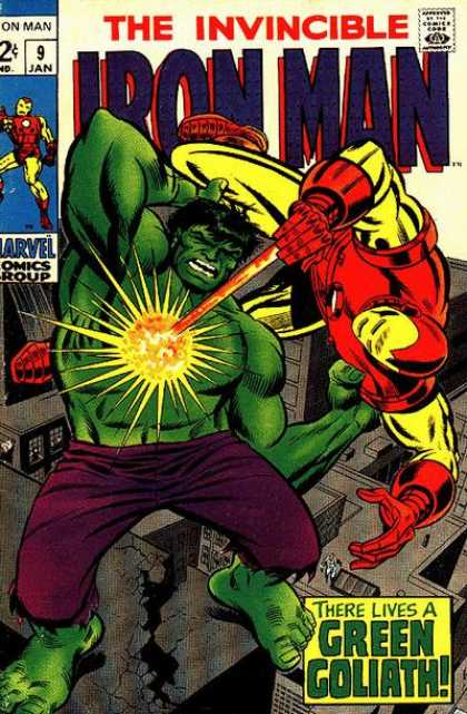 Iron Man 9 - Battle - Incredible Hulk - Green Goliath - Purple Shorts - Roof Top - Terry Shoemaker