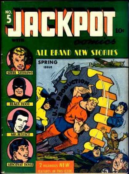 Jackpot Comics 5 - Steel Sterling - Black Hood - Mr Justice - Us Production - Airplane - Bob Montana