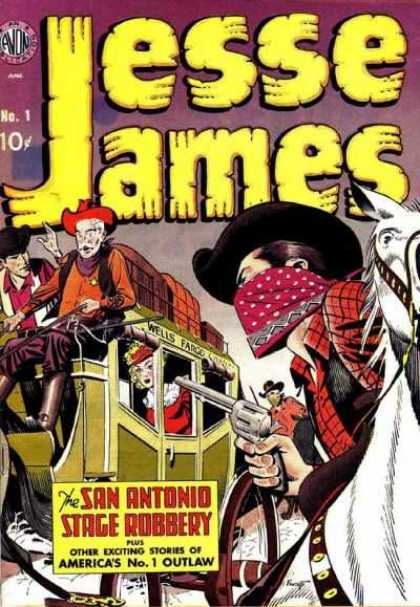 Jesse James 1 - Stagecoach Holdup - Masked Gunman - White Horse - Woman In Coach - Stagecoach Driver - Carmine Infantino, Joe Kubert