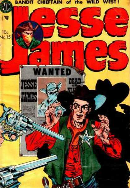 Jesse James 15 - Wanted Poster - Sharif Badge - Bandit Chietain - Wild West - Hold Up