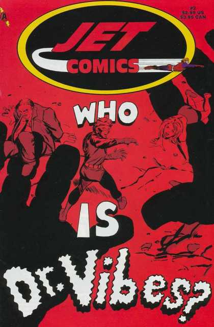 Jet Comics 2 - Dr Vibes - Red Background - Struggling Characters - Business Suit - Hero Costume