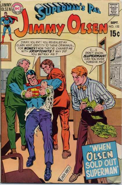 Jimmy Olsen 132 - Kryptonite - Money - Comics Code - Superman - Costume