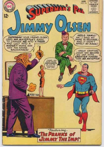 Jimmy Olsen 74 - Superman - National Comics - Dc - Approved By The Comics Code Authority - The Pranks Of Jimmy The Imp