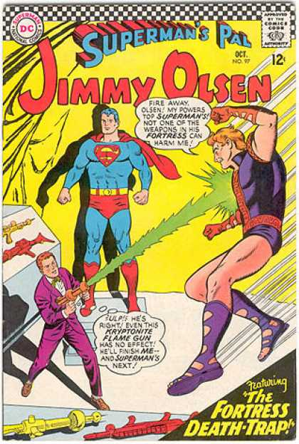 Jimmy Olsen 97 - Superman - Ray Gun - Lazer - Cave - Purple Boots