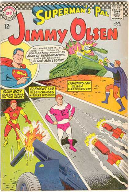 Jimmy Olsen 99 - Superman - Tank - Canon - Missles - Fire