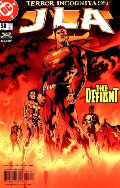 JLA 58 - Terror Incognita - Waid Miller Neary - Superman - The Defiant - Fire - Bryan Hitch
