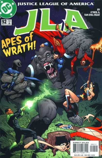 JLA 92 - Apes Of Wrath - Tree Trunk - Ray Of Green Light - Fire - Grass - Doug Mahnke