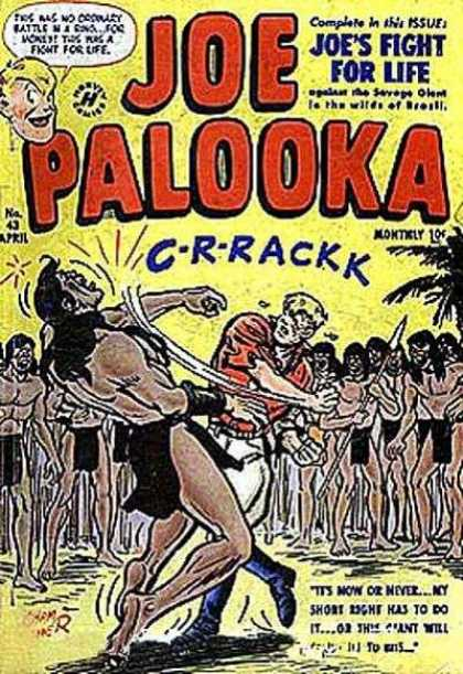 Joe Palooka 43 - Man - Spear - Joes Fight For Life - Harvey Comics - Its Now Or Never - Joe Simon