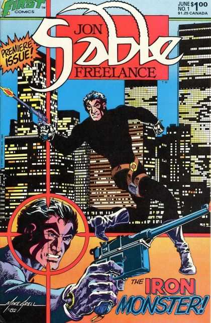 Jon Sable Freelance 1 - Iron Monster - City Buildings - Black Outfit - Black Boots - Guns - Mike Grell
