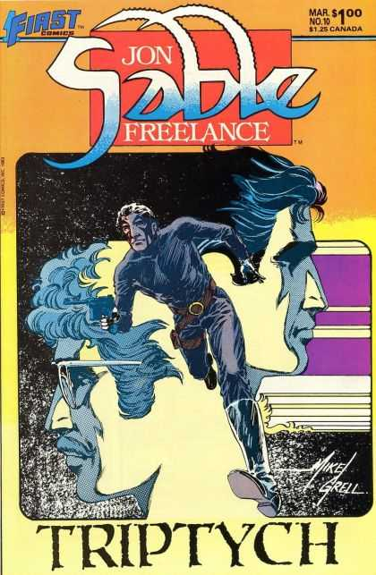 Jon Sable Freelance 10 - March - First Comics - Triptych - Mike Grell - Gun - Mike Grell
