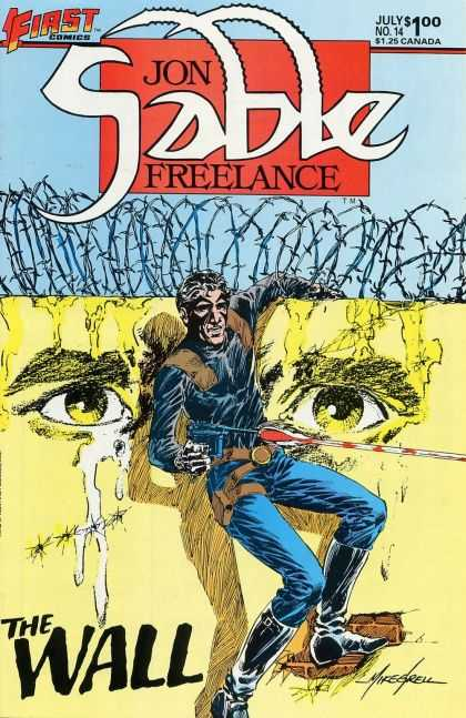 Jon Sable Freelance 14 - July No 14 - Barb Wire - Crying - Yellow - First Comics - Mike Grell