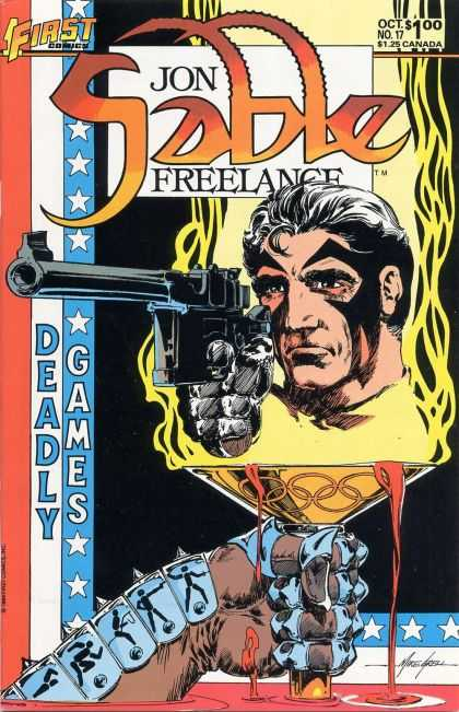 Jon Sable Freelance 17 - Deadly - Games - Gun - First Comics - Gloved Hand - Mike Grell