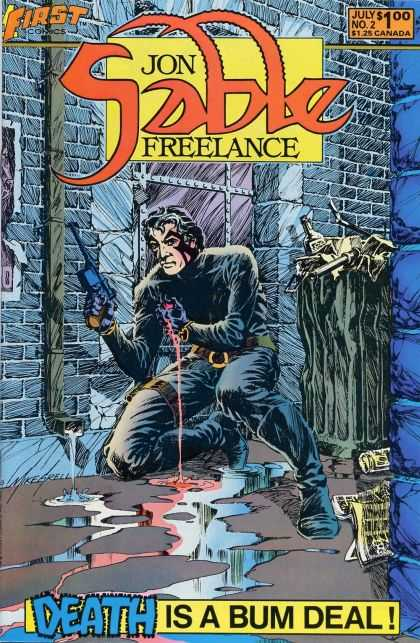 Jon Sable Freelance 2 - Death Is A Bum Deal - Gun - Blood - July No 2 - First Comics - Mike Grell