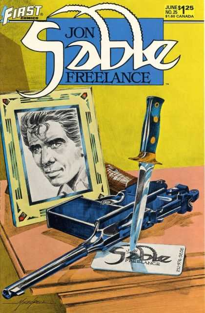 Jon Sable Freelance 25 - First Comics - Knife - Picture - Gun - June No 25 - Mike Grell