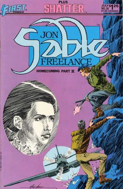 Jon Sable Freelance 26 - First Comics - Shatter - Gun - Mountain - Airplane - Mike Grell