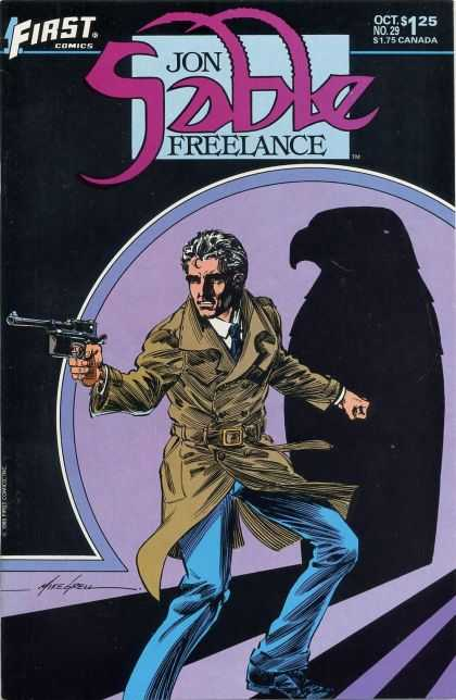 Jon Sable Freelance 29 - Falcon - Gun - Trench Coat - First Comics - Grey Hair - Mike Grell