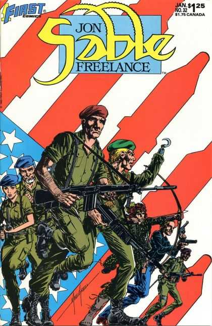 Jon Sable Freelance 32 - Soldiers - Guns - Army - War - American Flag - Mike Grell