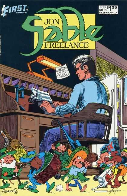 Jon Sable Freelance 33 - Desk - Typewriter - Lamp - Chair - Cigarettes - Mike Grell, Sergio Aragones