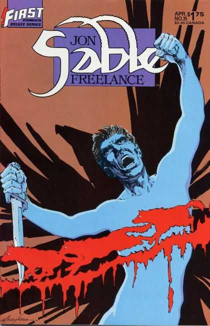 Jon Sable Freelance 35 - Blue Man - Blood - Dagger - Wolves - Shadows - Mike Grell
