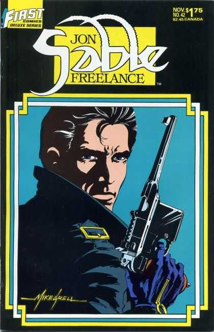 Jon Sable Freelance 42 - Black Hair - Gun - Posing - Gold Zippers - Collar-up - Mike Grell
