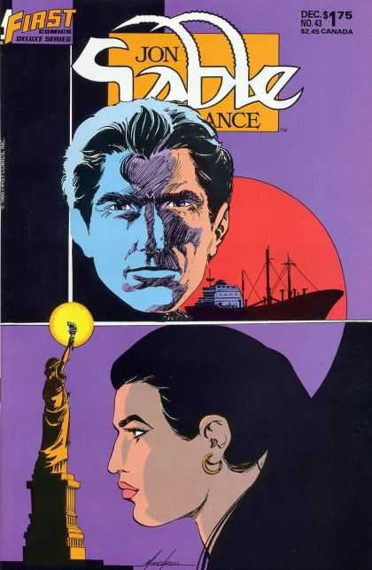 Jon Sable Freelance 43 - Cargo Ship - Statue Of Liberty - Woman Profile - Sunset - Dec No 43 - Mike Grell