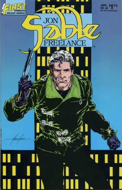 Jon Sable Freelance 46 - First Comics Deluxe Series - Mercenaries - Fighting Man - Gun In Hand - Tough Guy - Mike Grell