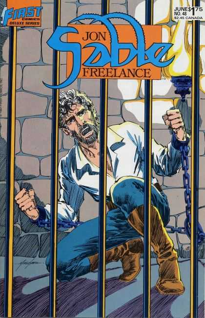 Jon Sable Freelance 48 - First Comics - Jon Sable - Jail - Chains - Mike Grell - Mike Grell