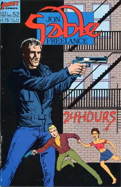 Jon Sable Freelance 52 - 24 Hours - Pistol - Fire Escape - Oct 1987 - No 52 - Mike Grell