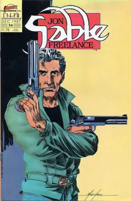 Jon Sable Freelance 54 - Man - Guns - Posing - Black Shirt - Green Jacket - Mike Grell