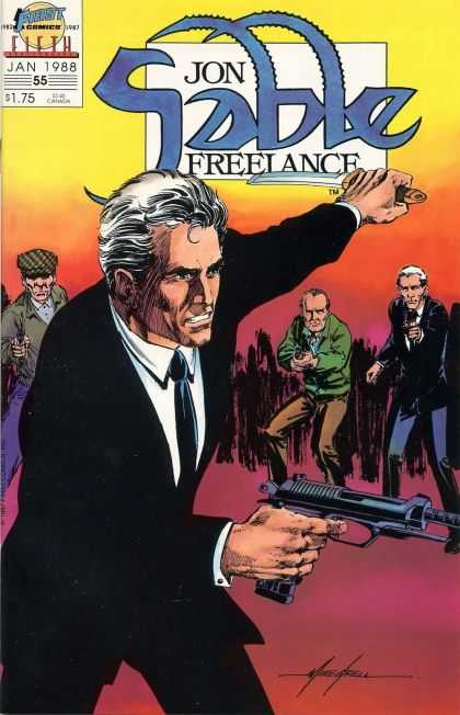 Jon Sable Freelance 55 - January 1988 - No 55 - Suit - Gun - Men - Mike Grell