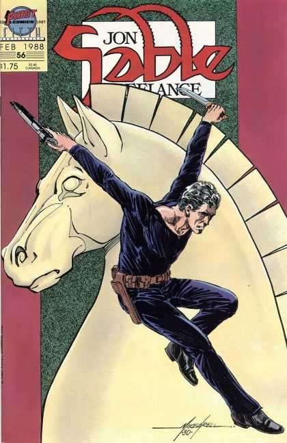 Jon Sable Freelance 56 - Horse - Chess - Gun - Knife - Jumping - Mike Grell