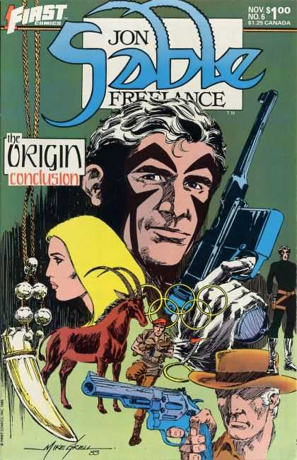 Jon Sable Freelance 6 - First Comics - The Origin Conclusion - Gun - Cap - 125 Canada - Mike Grell