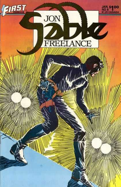 Jon Sable Freelance 8 - First - Jon Sabbe Freelance - Man Running - Orange Belt - Cost 100 - Mike Grell