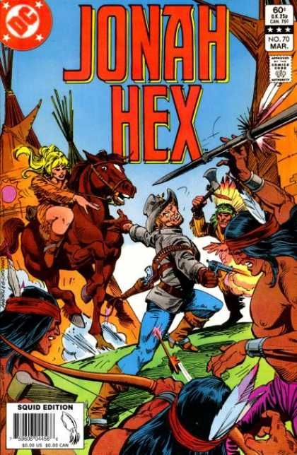 Jonah Hex 70 - Squid Edition - Blond Woman On Horseback - Indian With Tomahawk - Gunslinger - Indian Shooting Bow And Arrow - Dick Giordano, Ross Andru
