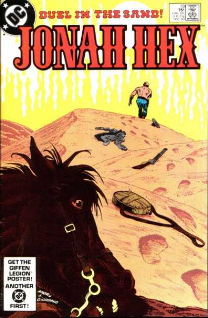Jonah Hex 79 - Deul In The Sand - Footprints - Canteen - Gun - Horse - Dick Giordano, Ross Andru