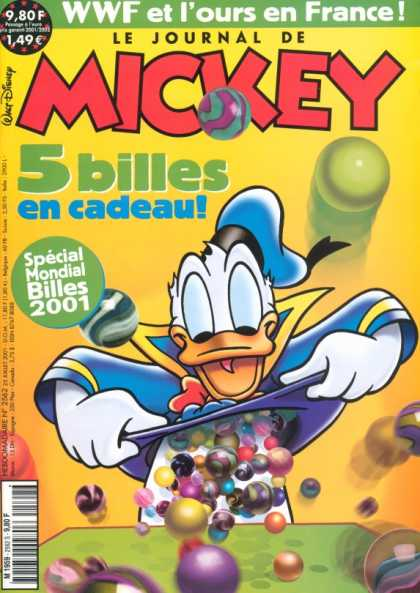 Journal de Mickey 8 - Marbles - Donald - Shirt - Disney - 5 Billes En Cadeau