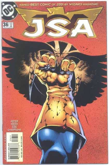 JSA 36 - Best Comic Of 2001 - Fist - Gloved Fist - Red Background - Wizard Magazine - Ralph Morales
