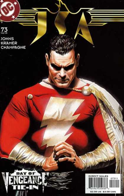 JSA 73 - Vengeance Tie-in - Lighting Bolt - Red Outfit - Stern Expression - Muscles - Alex Ross