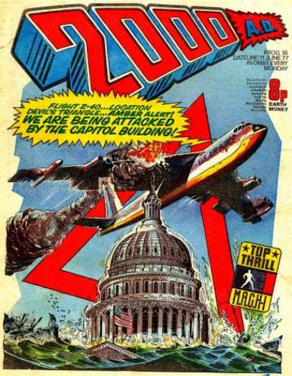 Judge Dredd - 2000 AD 16 - Aeroplane - Whitehouse - Fire - Sky - Flag