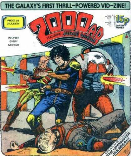 Judge Dredd - 2000 AD 218 - Future - Laser - Fighting - Space Station - American