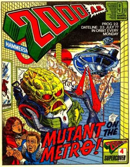 Judge Dredd - 2000 AD 22 - Alien - Prog 22 Dateline 23 July 77 In Orbit Every Monday - Mutant Metro - Spaceship - Running