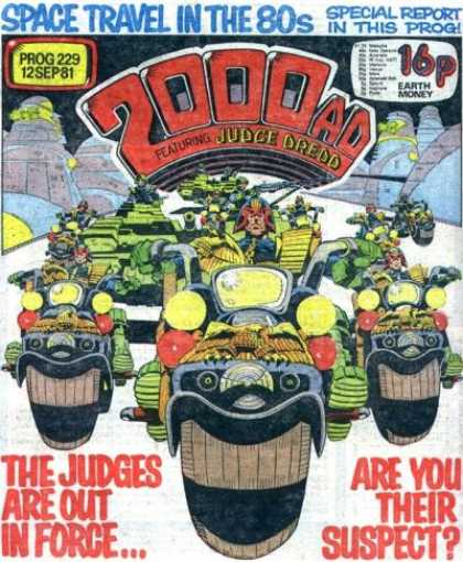 Judge Dredd - 2000 AD 229 - Space Travel - Bykes - The Judges Are Out In Force - Are You Their Suspect - Earth Money