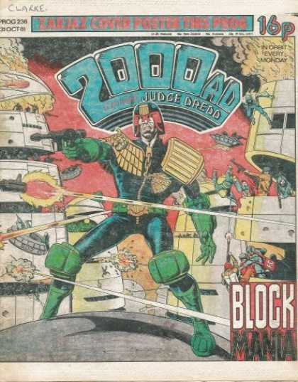 Judge Dredd - 2000 AD 236 - Block Mania - Fleetway - Mega-city One - 16p - Writing On Cover