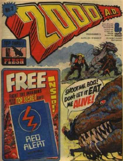 Judge Dredd - 2000 AD 3 - Dinosaur - 2000 Ad - Free Inside - Horses - Dont Let It Eat Me Alive