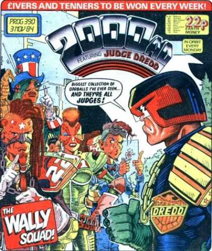 Judge Dredd - 2000 AD 390 - Mohawk - Earth Money - Tenners - Helmet - Uncle Sam Hat