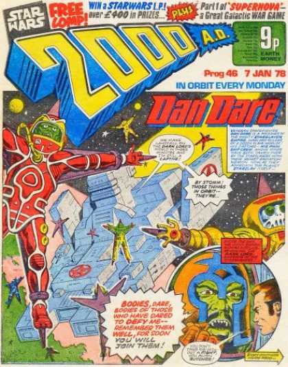 Judge Dredd - 2000 AD 46 - Dan Dare - In Orbit Every Monday - Space - Bodies - Star Wars
